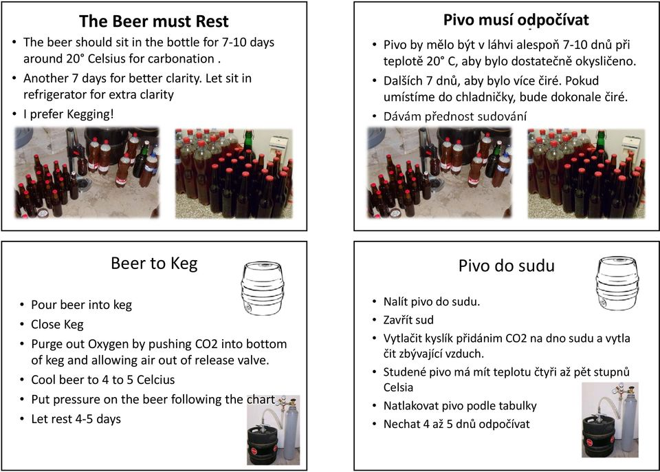 Dávámpřednost sudování Pour beer into keg Close Keg Beer to Keg Purge out Oxygen by pushing CO2 into bottom of keg and allowing air out of release valve.