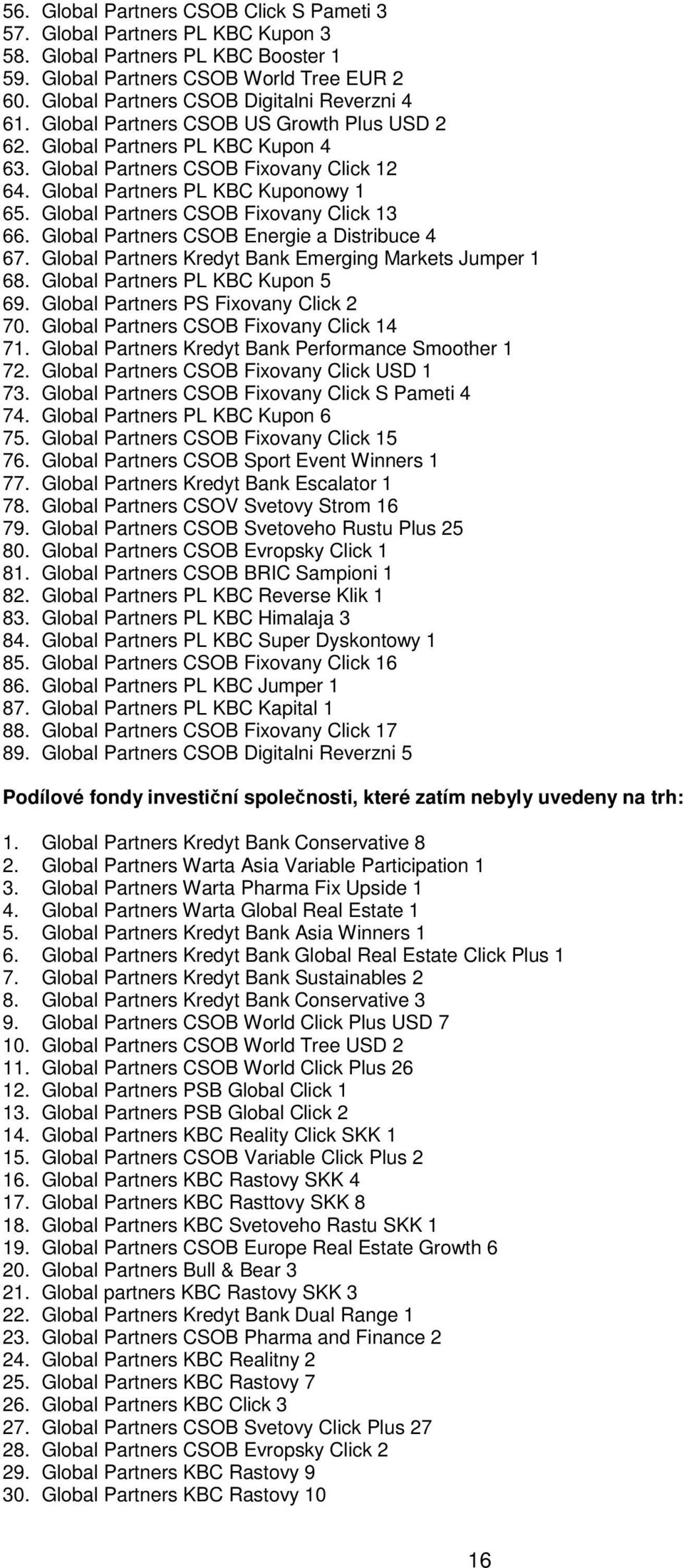 Global Partners PL KBC Kuponowy 1 65. Global Partners CSOB Fixovany Click 13 66. Global Partners CSOB Energie a Distribuce 4 67. Global Partners Kredyt Bank Emerging Markets Jumper 1 68.