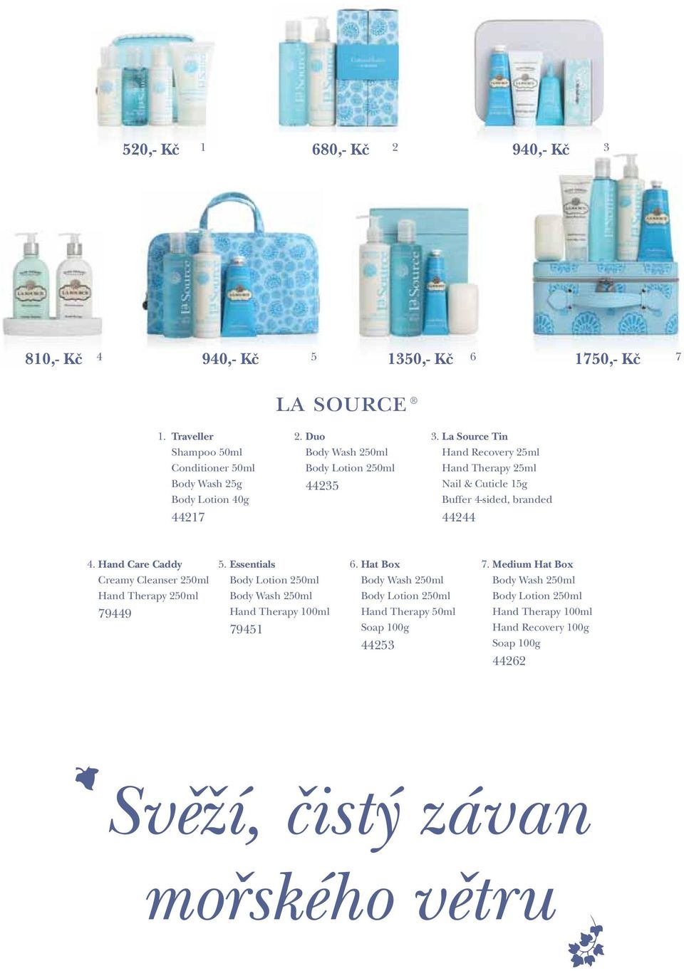 La Source Tin Hand Recovery 25ml Hand Therapy 25ml Nail & Cuticle 15g Buffer 4-sided, branded 44244 4. Hand Care Caddy 5.