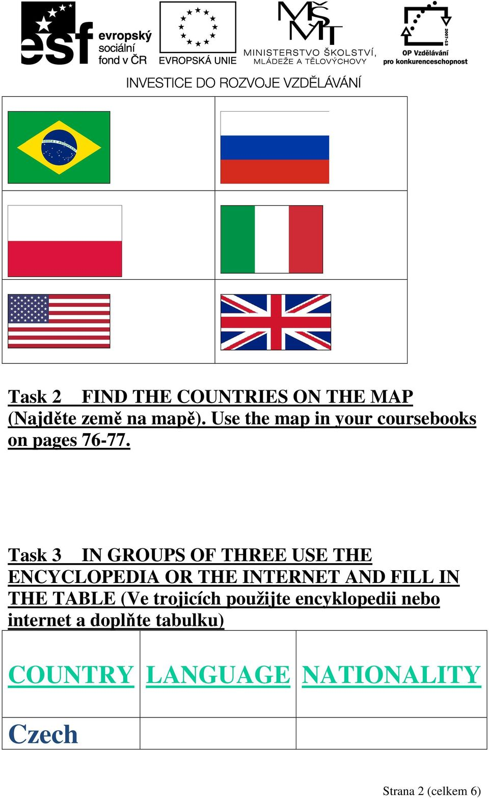 Task 3 IN GROUPS OF THREE USE THE ENCYCLOPEDIA OR THE INTERNET AND FILL IN THE