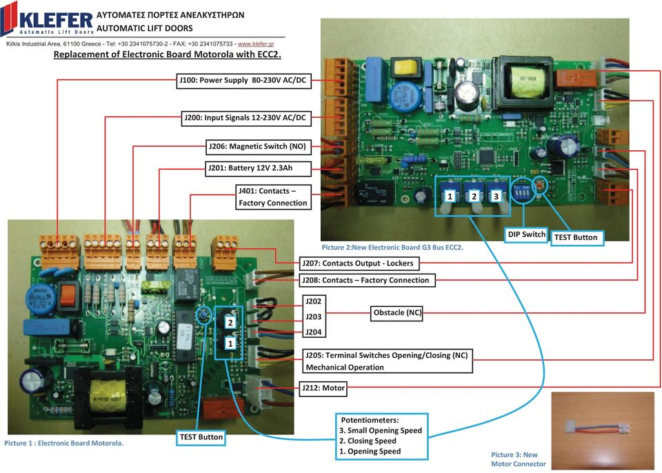 3Ah J401: Contacts Factory Connection 1 2 3 Picture 2:New Electronic Board G3 Bus ECC2.