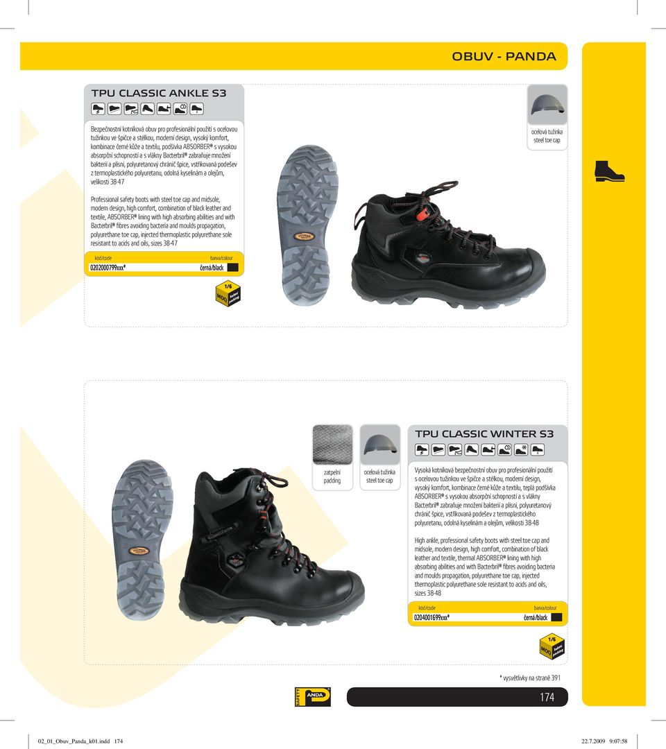 kyselinám a olejům, velikosti 38-47 Professional safety boots with and midsole, modern design, high comfort, combination of black leather and textile, ABSORBER lining with high absorbing abilities