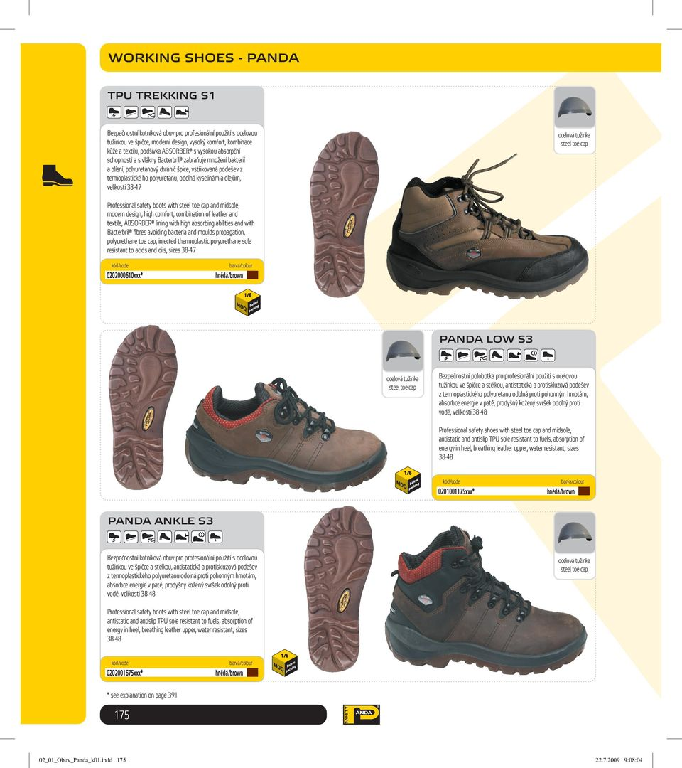 velikosti 38-47 Professional safety boots with and midsole, modern design, high comfort, combination of leather and textile, ABSORBER lining with high absorbing abilities and with Bacterbril fi bres