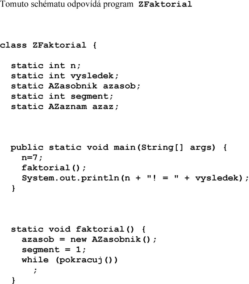 "static void main(string[] args) { n=7; faktorial(); System.out.println(n + ""!"