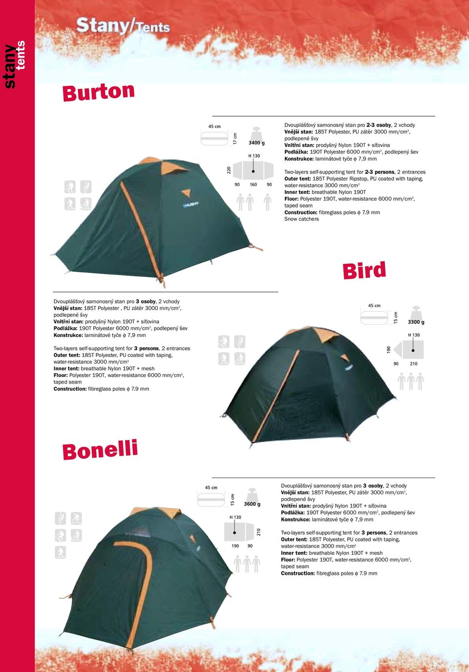 stan: 185T Polyester, PU zátěr 3000 mm/cm 2, Podlážka: 1T Polyester 6000 mm/cm 2, Two-layers self-supporting tent for 3 persons, 6000 mm/cm 2,