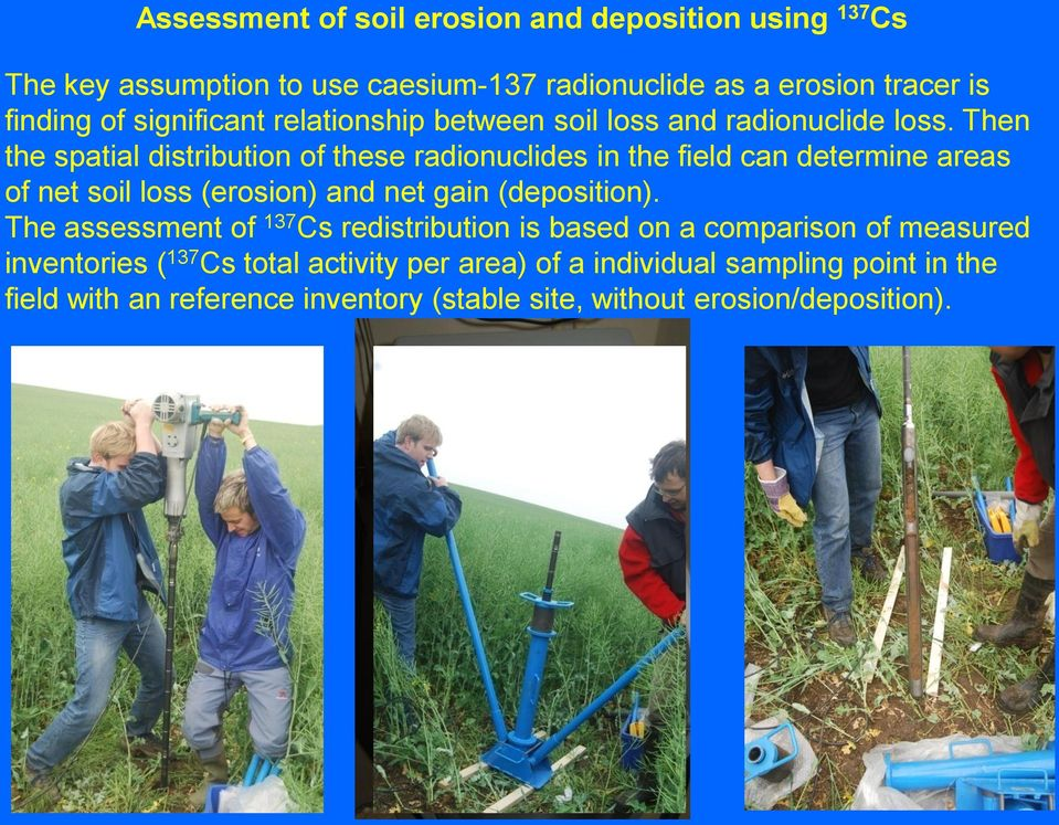 Then the spatial distribution of these radionuclides in the field can determine areas of net soil loss (erosion) and net gain (deposition).