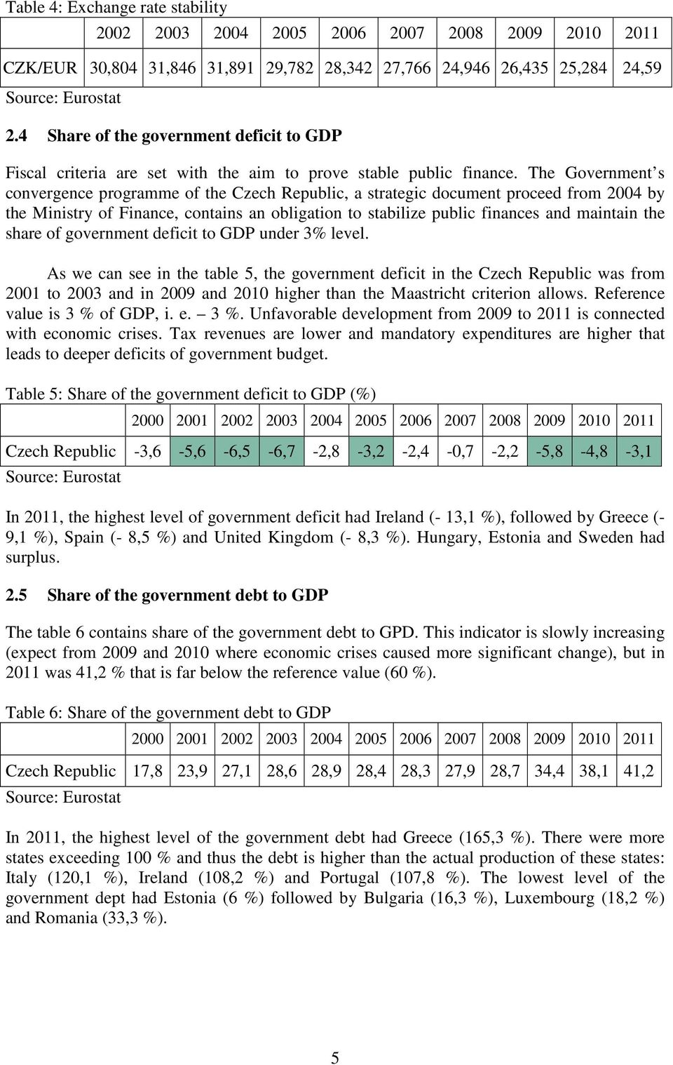 The Government s convergence programme of the Czech Republic, a strategic document proceed from 2004 by the Ministry of Finance, contains an obligation to stabilize public finances and maintain the