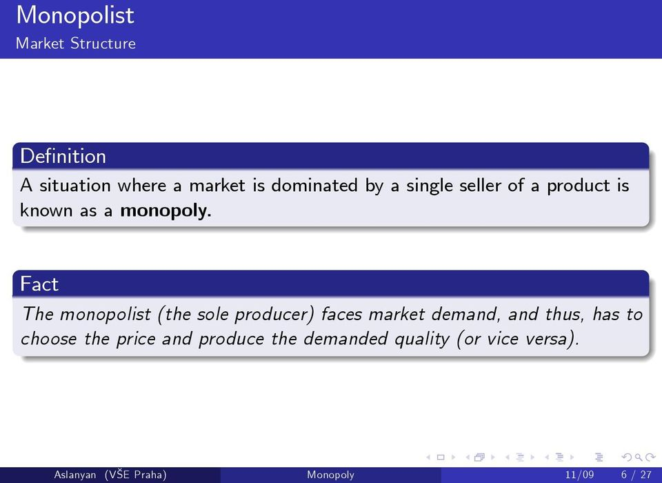 Fact The monopolist (the sole producer) faces market demand, and thus, has to