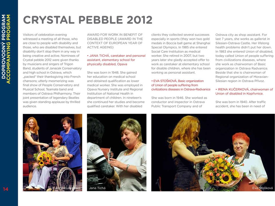 Nominees of Crystal pebble 2012 were given thanks by musicians and singers of Trigon Band, students of Janacek Conservatory and high school in Ostrava, which packed their thanksgiving into French