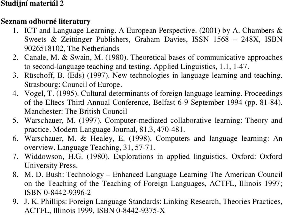 Theoretical bases of communicative approaches to second-language teaching and testing. Applied Linguistics, 1.1, 1-47. 3. Rüschoff, B. (Eds) (1997). New technologies in language learning and teaching.
