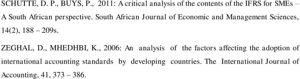 South African Journal of Economic and Management Sciences, 14(2), 188 209s. ZEGHAL, D.