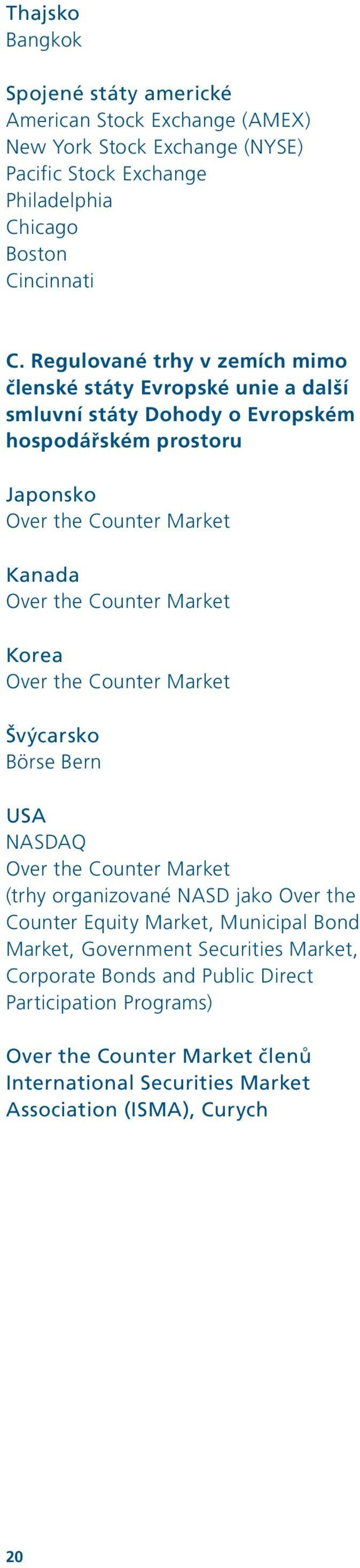 Counter Market Korea Over the Counter Market Švýcarsko Börse Bern USA NASDAQ Over the Counter Market (trhy organizované NASD jako Over the Counter Equity Market, Municipal