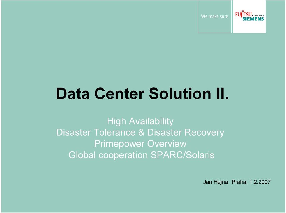 Disaster Recovery Primepower Overview