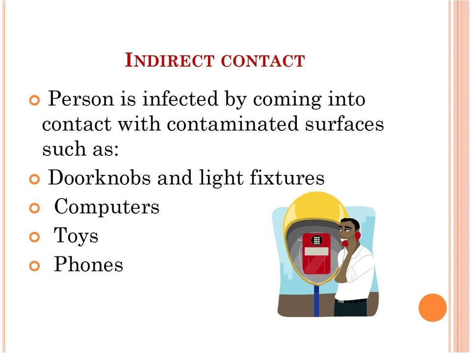 contaminated surfaces such as: