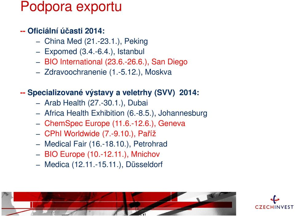 -30.1.), Dubai Africa Health Exhibition (6.-8.5.), Johannesburg ChemSpec Europe (11.6.-12.6.), Geneva CPhI Worldwide (7.