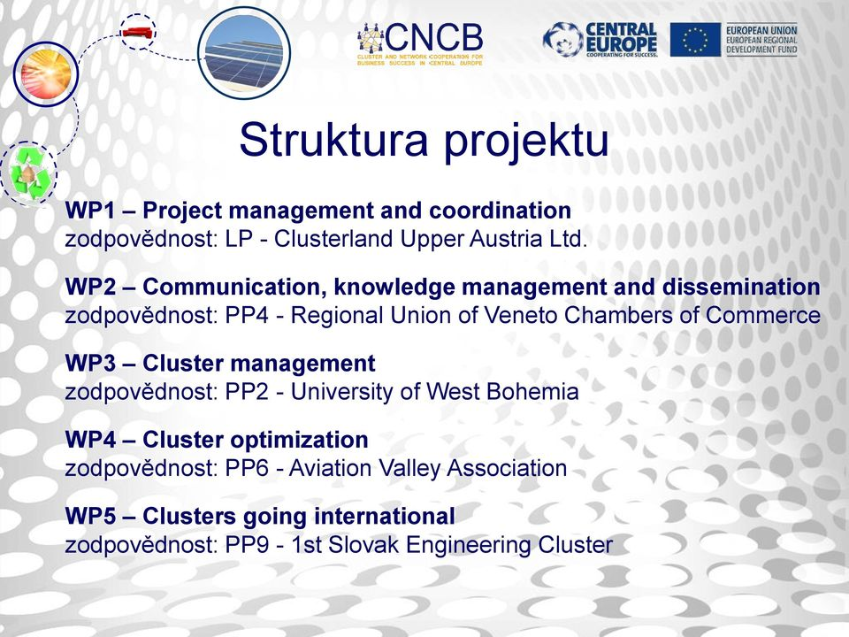 Commerce WP3 Cluster management zodpovědnost: PP2 - University of West Bohemia WP4 Cluster optimization