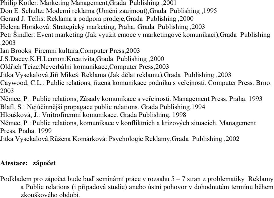 komunikaci),grada Publishing,2003 Ian Brooks: Firemní kultura,computer Press,2003 J.S.Dacey,K.H.