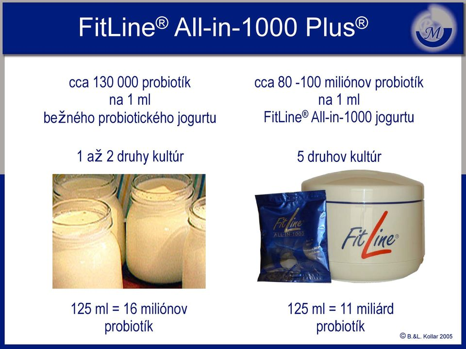 probiotík na 1 ml FitLine All-in-1000 jogurtu 5 druhov