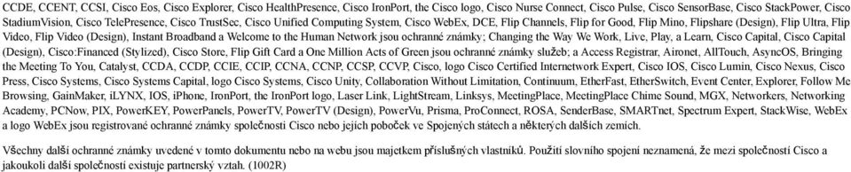 Broadband a Welcome to the Human Network jsou ochranné známky; Changing the Way We Work, Live, Play, a Learn, Cisco Capital, Cisco Capital (Design), Cisco:Financed (Stylized), Cisco Store, Flip Gift