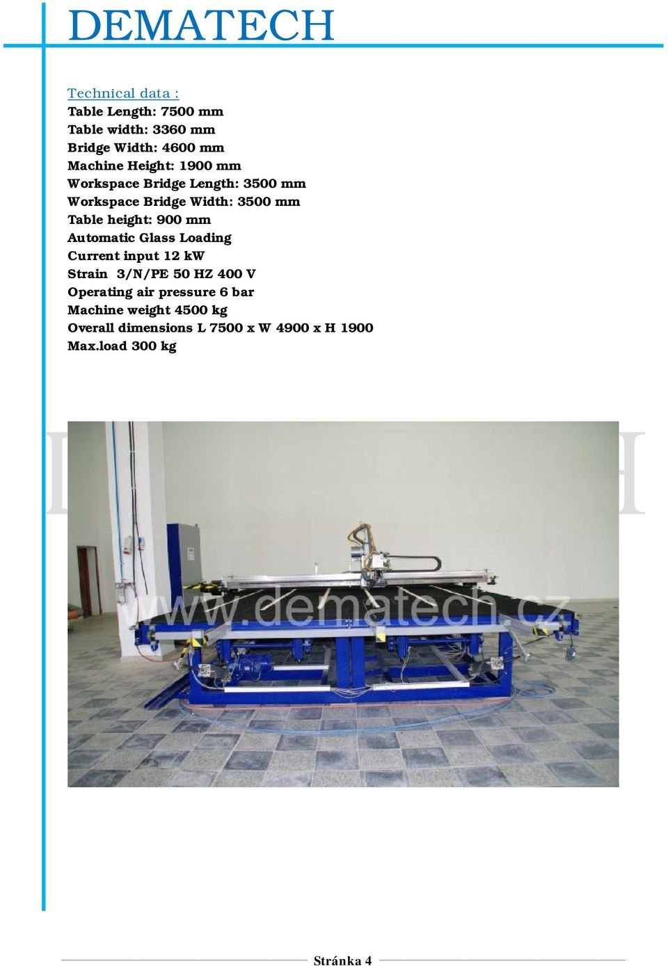 900 mm Automatic Glass Loading Current input 12 kw Strain 3/N/PE 50 HZ 400 V Operating air
