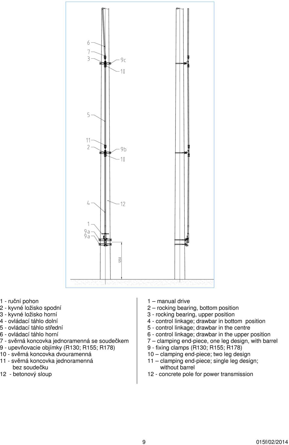rocking bearing, upper position 4 - control linkage; drawbar in bottom position 5 - control linkage; drawbar in the centre 6 - control linkage; drawbar in the upper position 7 clamping end-piece,