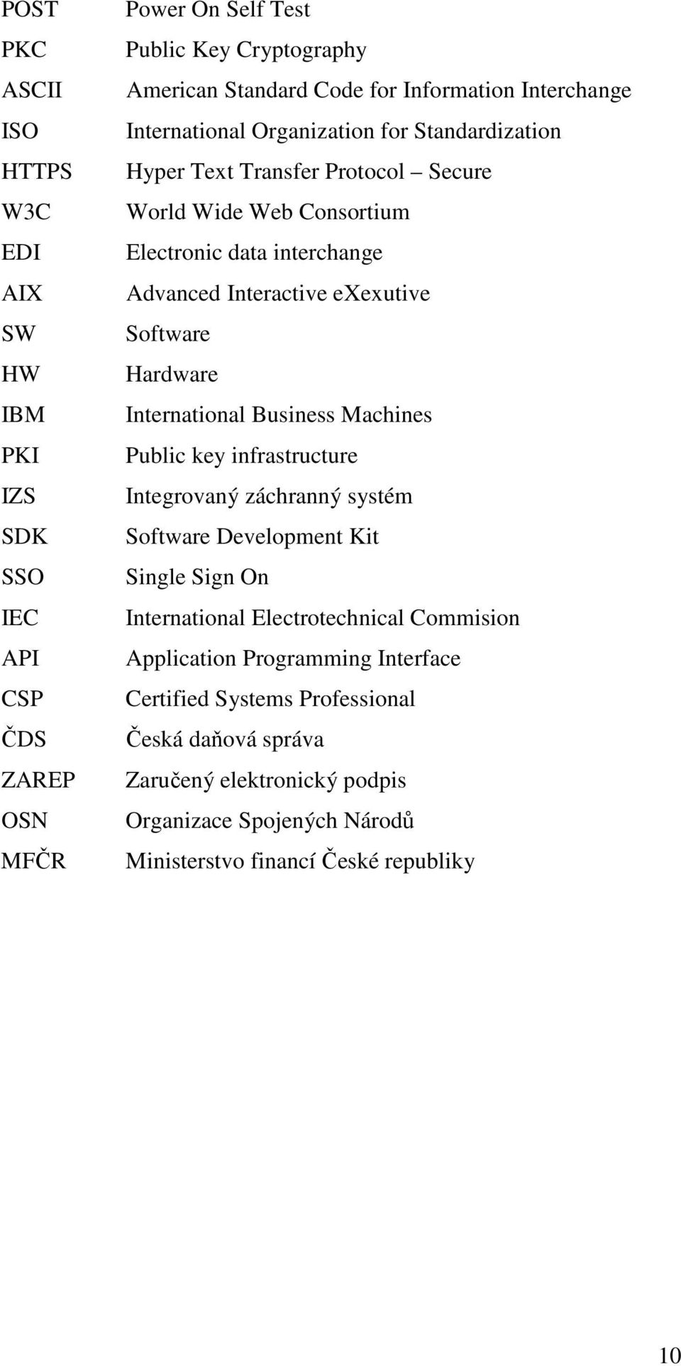 Software Hardware International Business Machines Public key infrastructure Integrovaný záchranný systém Software Development Kit Single Sign On International Electrotechnical