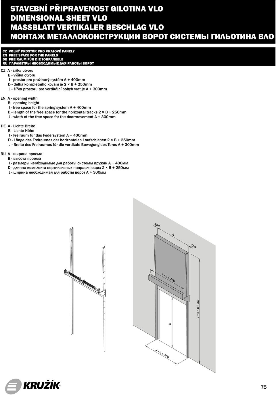 system A + 400mm D - length of the free space for the horizontal tracks 2 B + 250mm J - width of the free space for the doormovement A + 300mm DE A - Lichte Breite B - Lichte Höhe I - Freiraum für