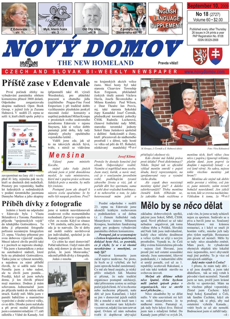 AND SLOVAK BI-WEEKLY NEWSPAPER M e n š i n a Josef Klíma