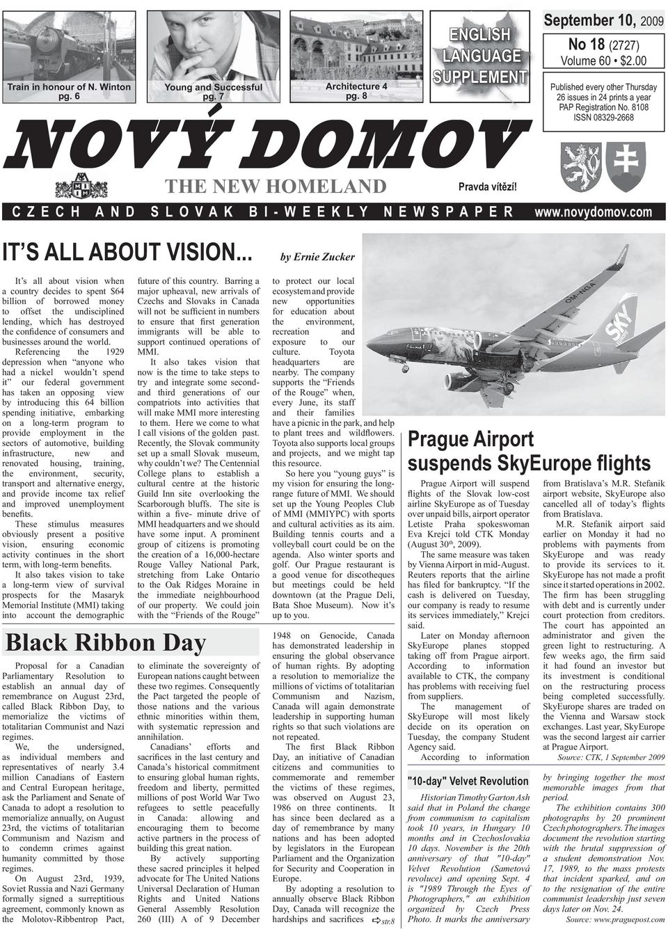 8 NOVÝ DOMOV THE NEW HOMELAND ENGLISH LANGUAGE SUPPLEMENT CZECH AND SLOVAK