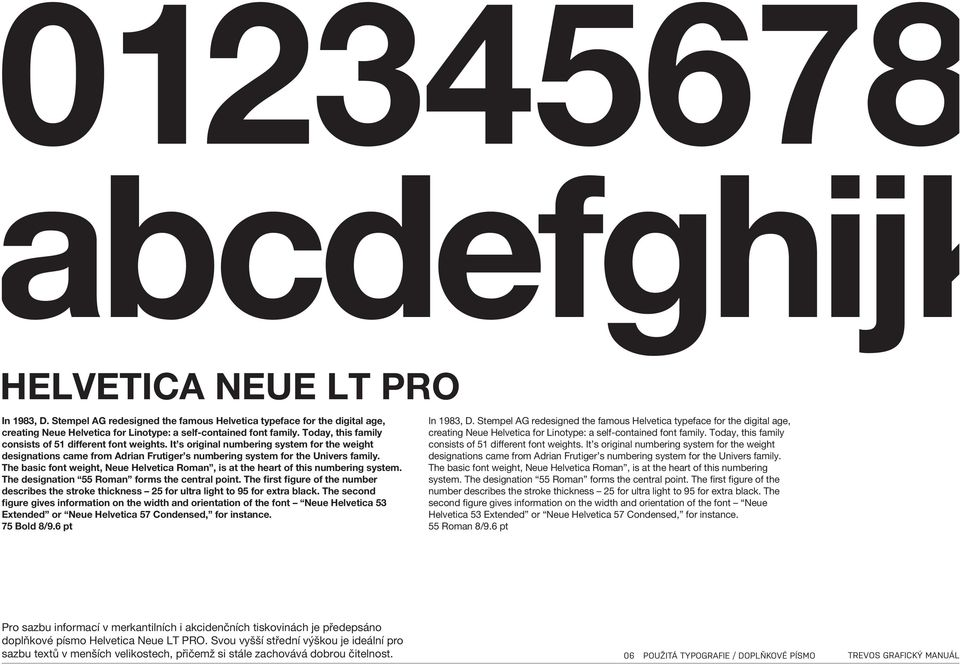 The basic font weight, Neue Helvetica Roman, is at the heart of this numbering system. The designation 55 Roman forms the central point.