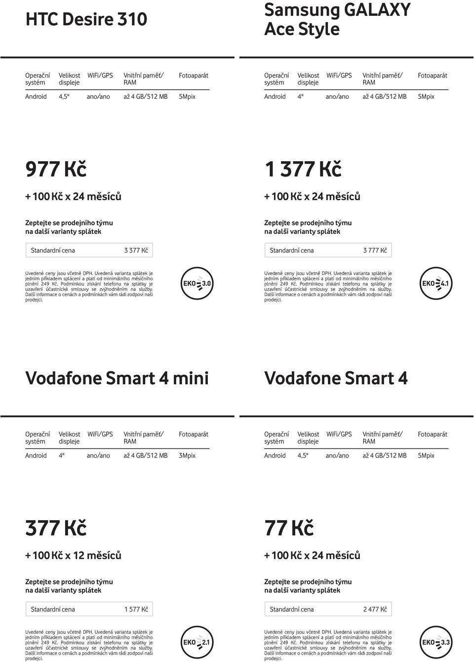 "Vodafone Smart 4 mini Vodafone Smart 4 Android 4"" ano/ano až 4 GB/512"