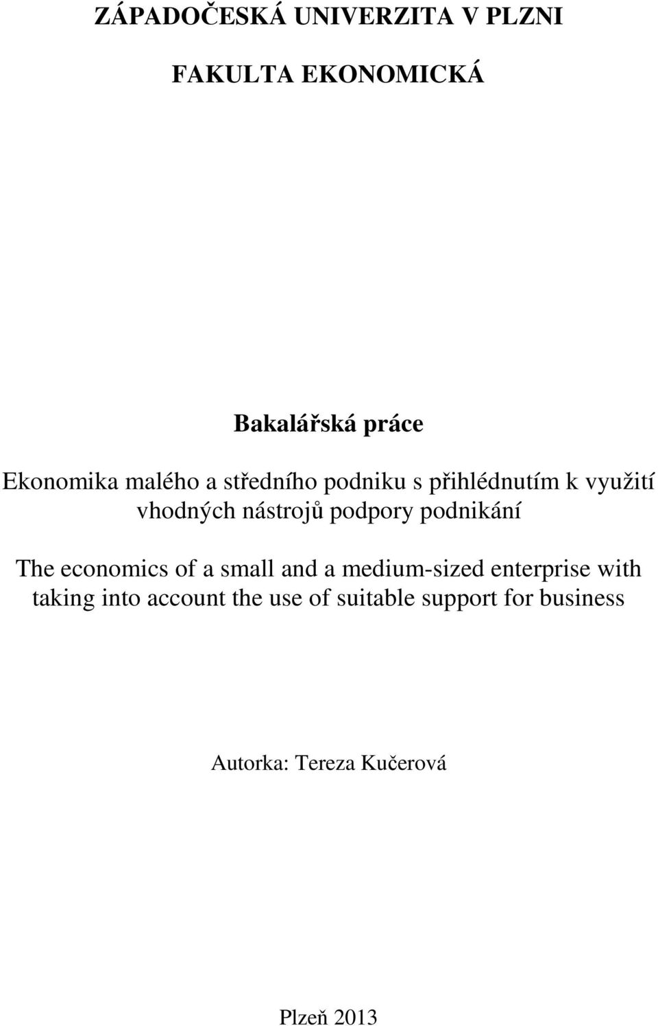 podnikání The economics of a small and a medium-sized enterprise with taking