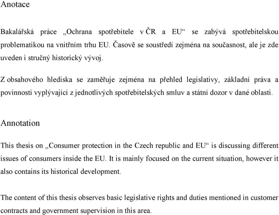Thesis on consumer protection