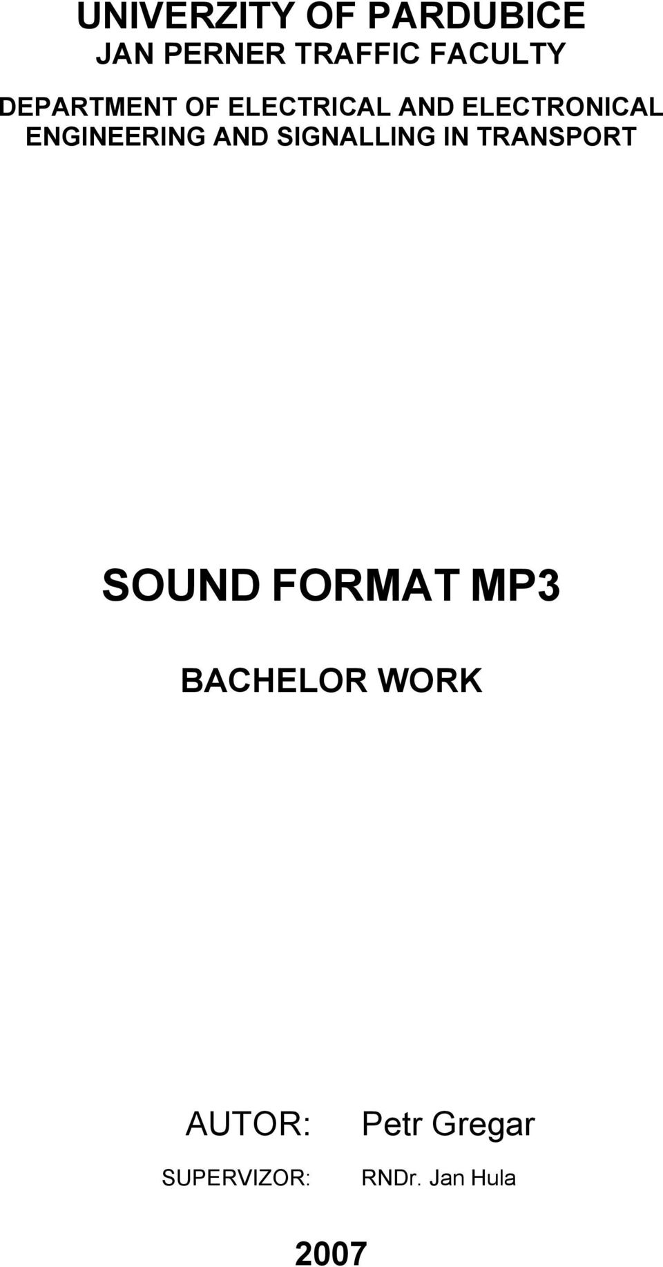 AND SIGNALLING IN TRANSPORT SOUND FORMAT MP3 BACHELOR