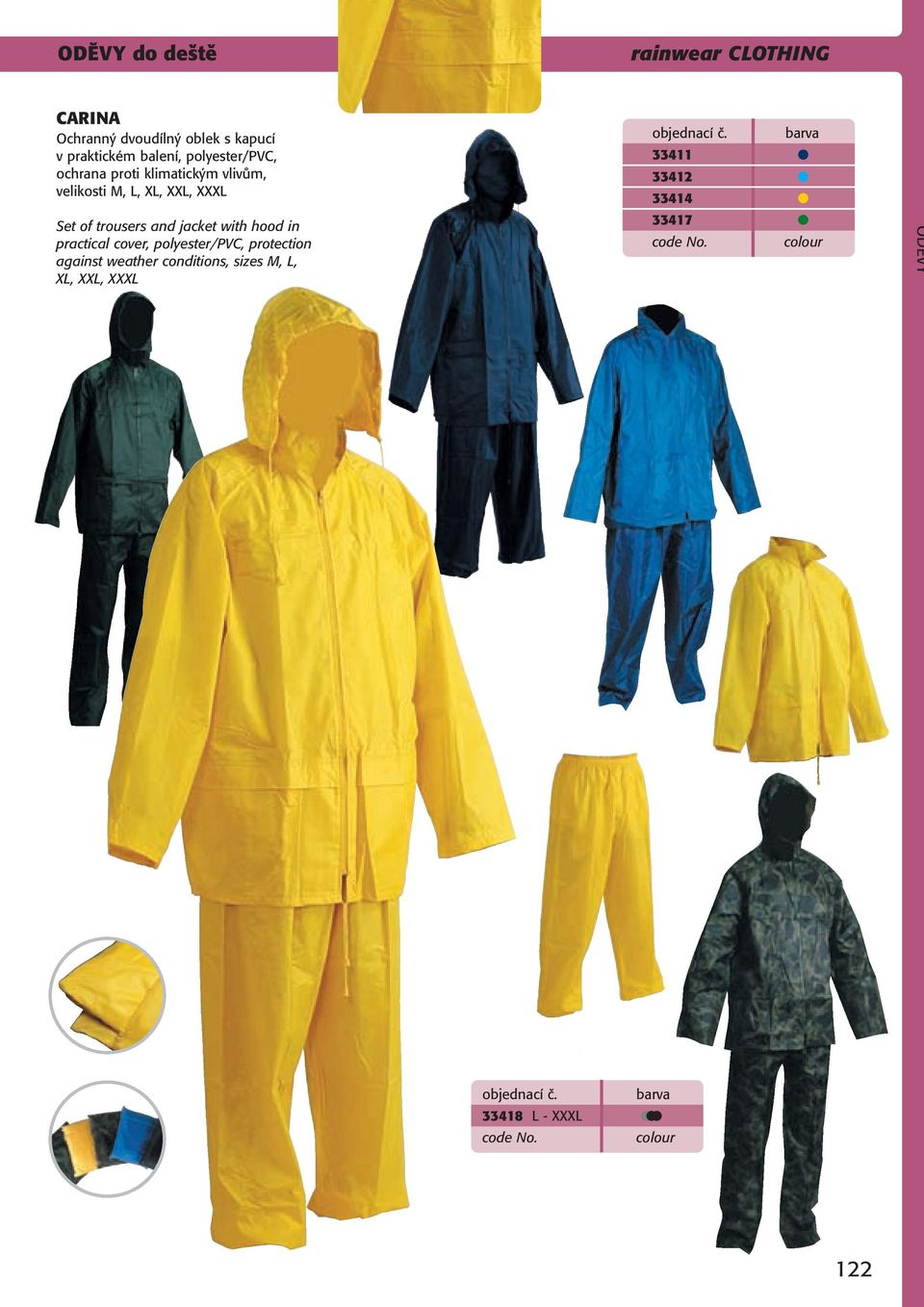 Set of trousers and jacket with hood in practical cover, polyester/pvc, protection