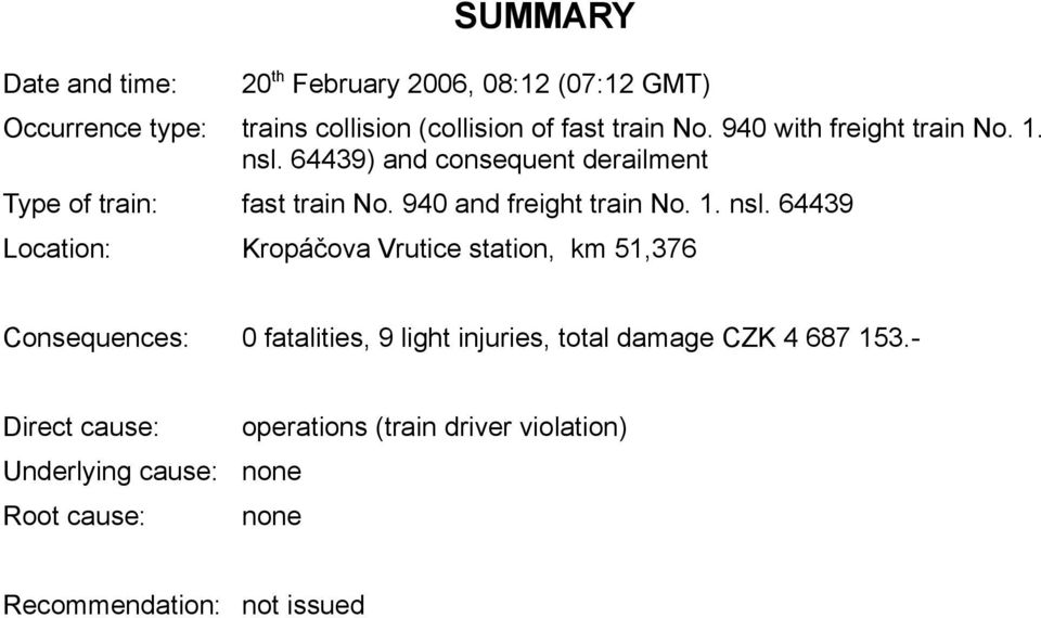 64439) and consequent derailment Type of train: fast train No. 940 and freight train No. 1. nsl.