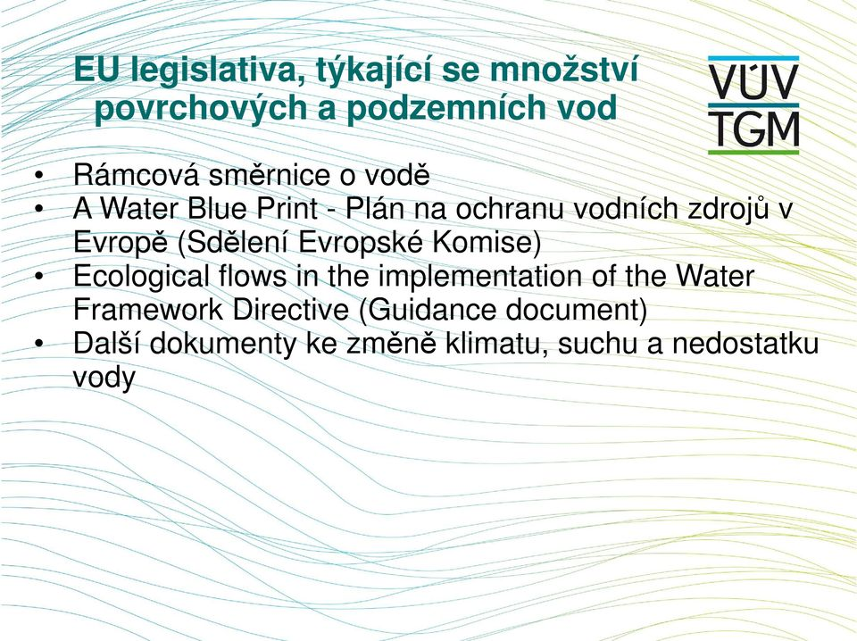 (Sdělení Evropské Komise) Ecological flows in the implementation of the Water