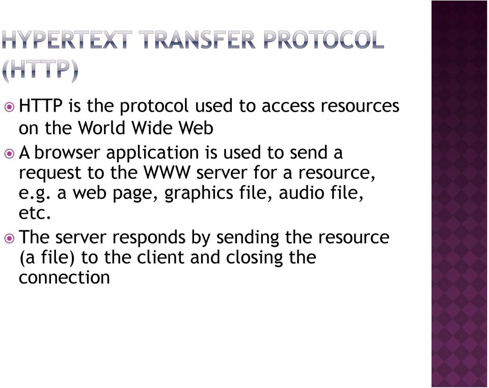 resource, e.g. a web page, graphics file, audio file, etc.