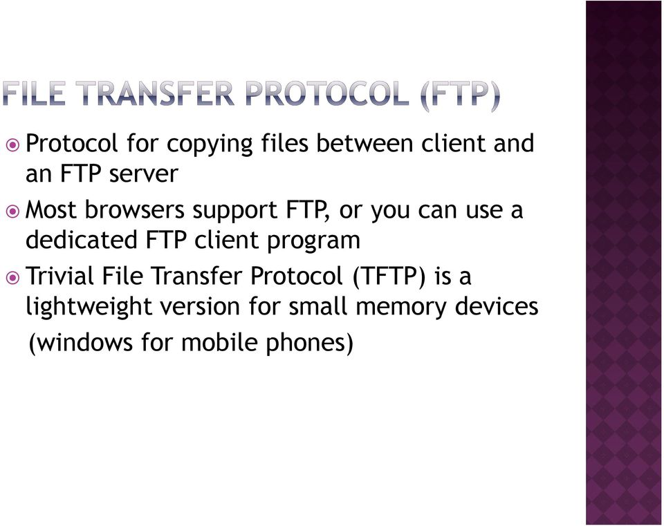 client program Trivial File Transfer Protocol (TFTP) is a