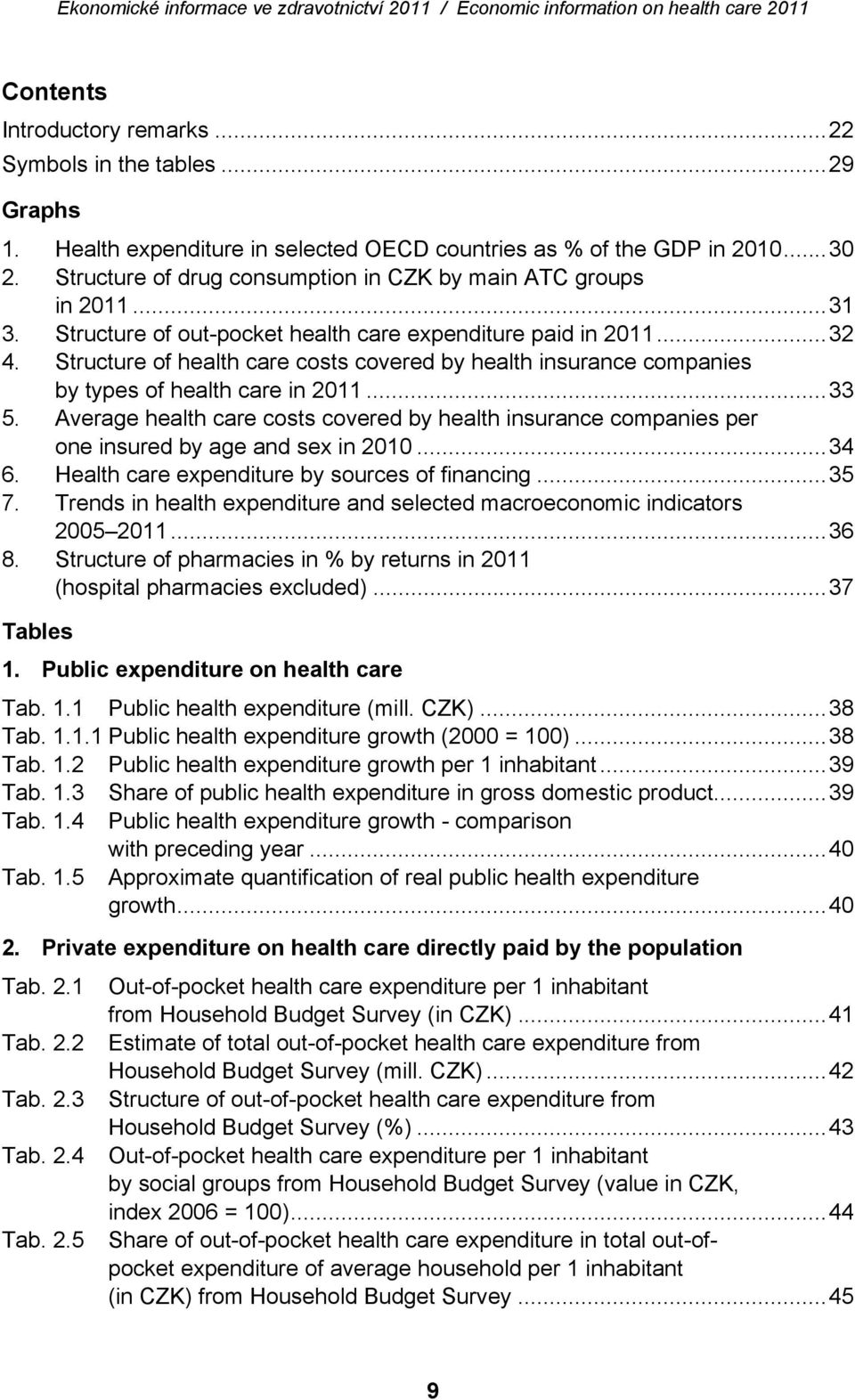Structure of health care costs covered by health insurance companies by types of health care in 2011...33 5.
