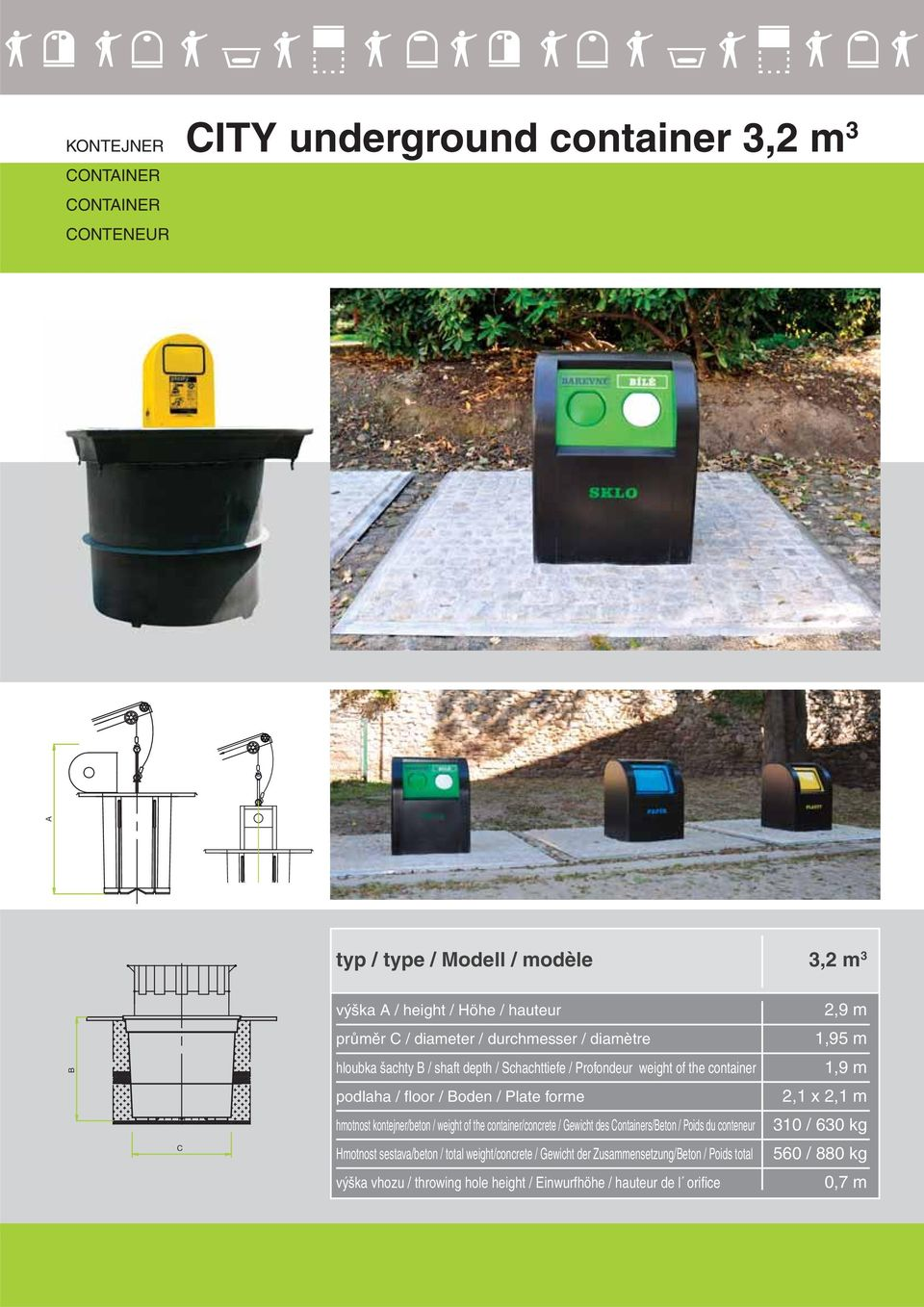 weight of the container/concrete / Gewicht des Containers/Beton / Poids du conteneur Hmotnost sestava/beton / total weight/concrete / Gewicht der