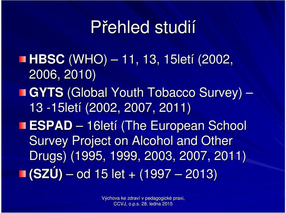 European School Survey Project on Alcohol and Other Drugs) ) (1995, 1999,