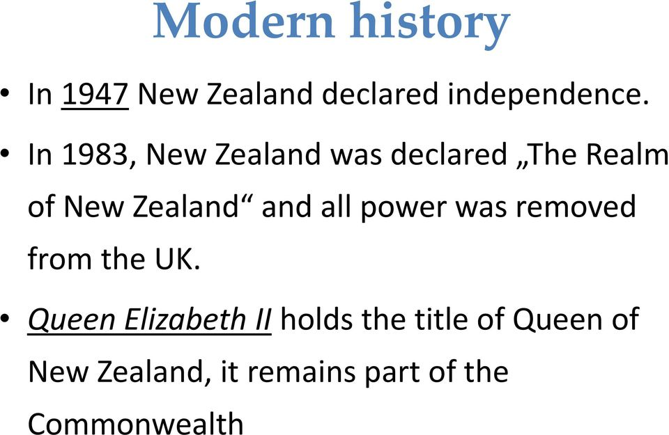 all power was removed from the UK.