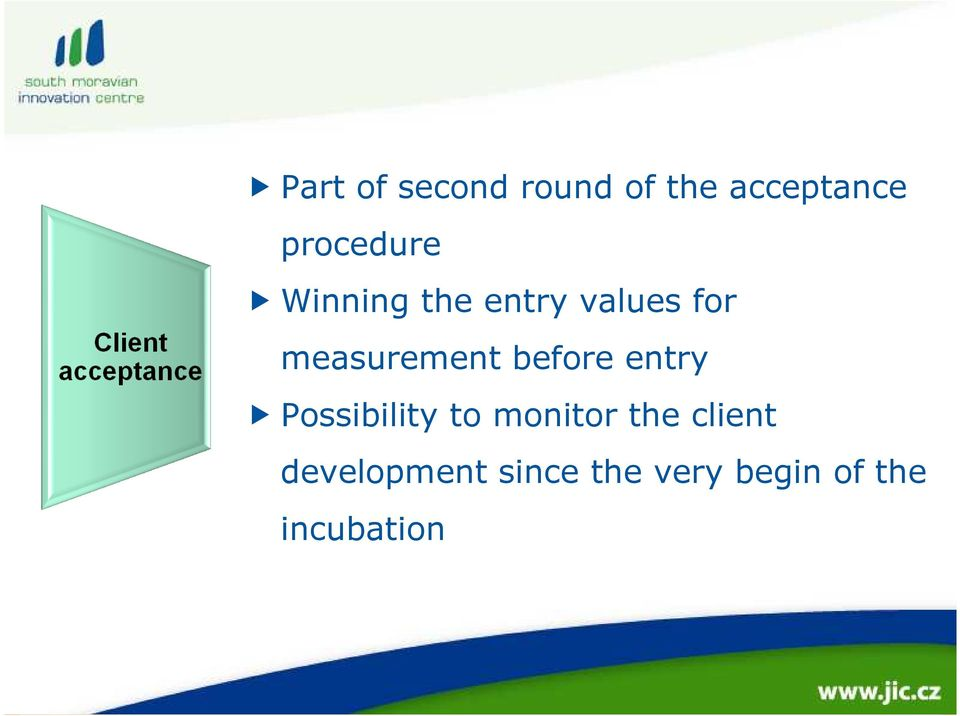 measurement before entry Possibility to