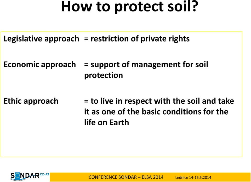 Economic approach = support of management for soil