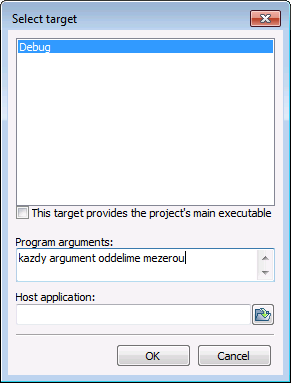Spouštění programu s parametry Code::Blocks Project Set program s arguments OK Spustíme program