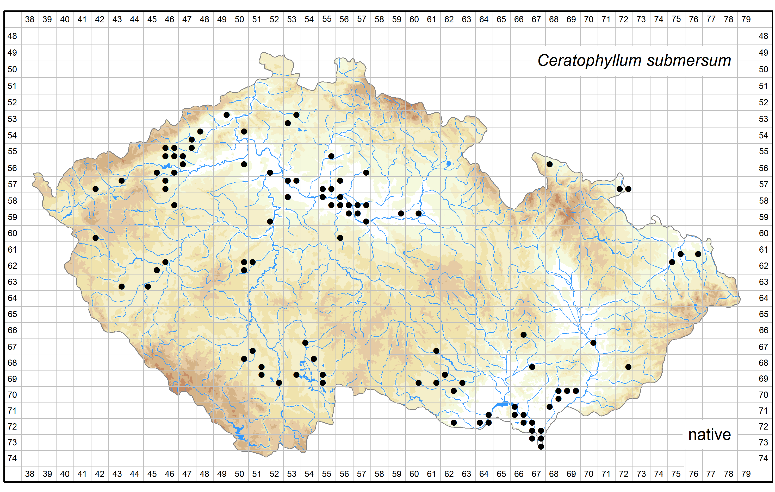 Distribution of Ceratophyllum submersum in the Czech Republic Author of the map: Zdeněk Kaplan, Jan Prančl Map produced on: 07-11-2016 Database records used for producing the distribution map of