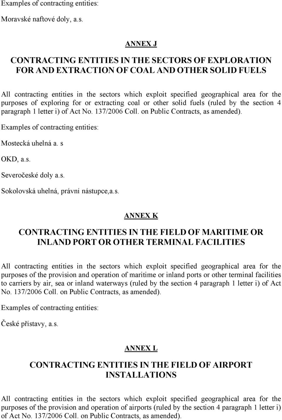 ANNEX J CONTRACTING ENTITIES IN THE SECTORS OF EXPLORATION FOR AND EXTRACTION OF COAL AND OTHER SOLID FUELS All contracting entities in the sectors which exploit specified geographical area for the