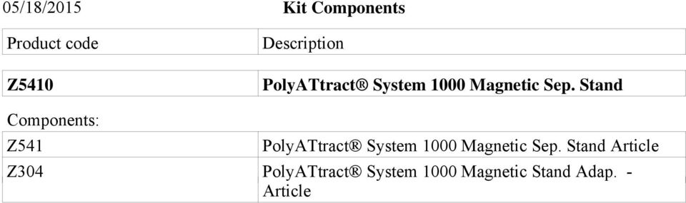 Stand Components: Z541  Stand Article Z304 PolyATtract
