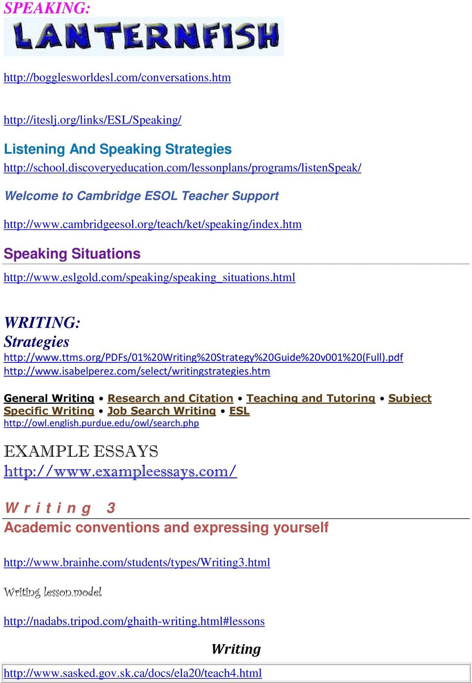 com/speaking/speaking_situations.html WRITING: Strategies http://www.ttms.org/pdfs/01%20writing%20strategy%20guide%20v001%20(full).pdf http://www.isabelperez.com/select/writingstrategies.